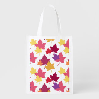 Colorful Fall Leaves Autumnal Pattern Reusable Grocery Bags