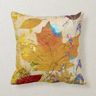 Colorful Fall Leaves Collage Custom Pillow
