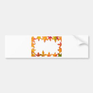 Colorful fall leaves framework on white bumper sticker