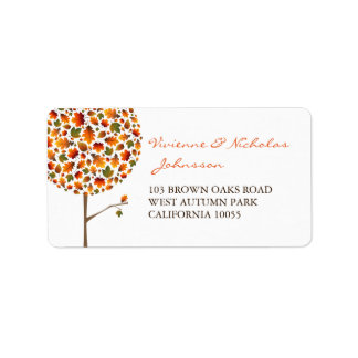 Colorful Fall Leaves Pop Tree Address Labels