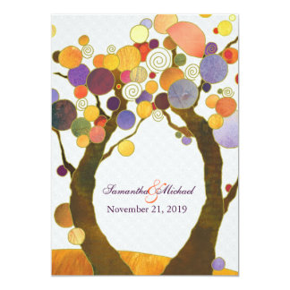 Colorful Fall Love Trees Modern Wedding Card