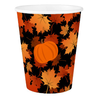 Colorful fall maple leaves and pumpkins pattern paper cup