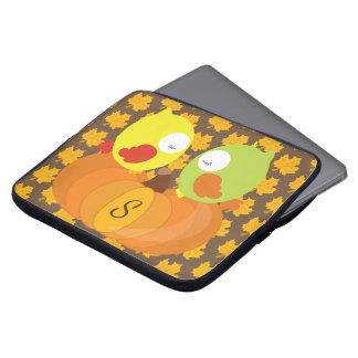 Colorful Fall Owls Monogrammed Laptop Sleeve