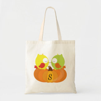 Colorful Fall Owls Monogrammed Tote Bag