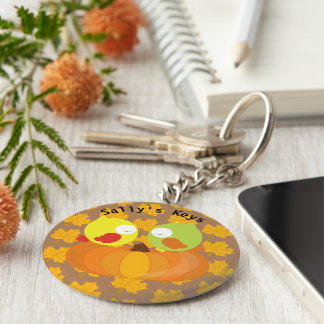 Colorful Fall Owls Personalized Keychain