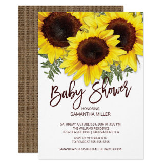 Colorful Fall Sunflowers Neutral Baby Shower Card