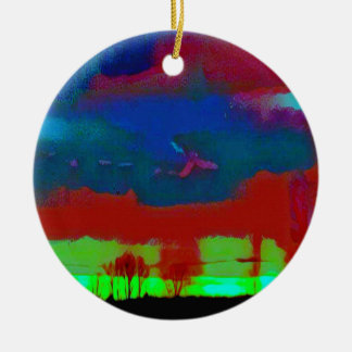 Colorful Fall Toned Abstract Horizon Sky Ceramic Ornament