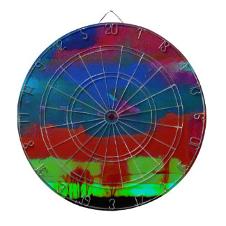 Colorful Fall Toned Abstract Horizon Sky Dartboard