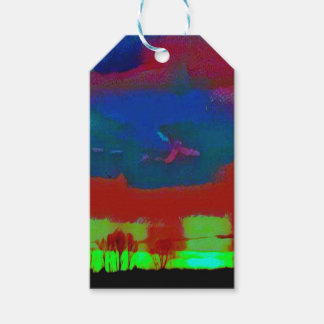 Colorful Fall Toned Abstract Horizon Sky Gift Tags