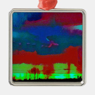 Colorful Fall Toned Abstract Horizon Sky Metal Ornament