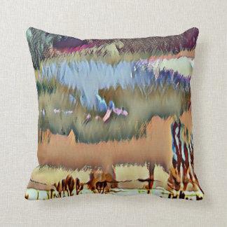 Colorful Fall Toned Abstract Horizon Sky Throw Pillow