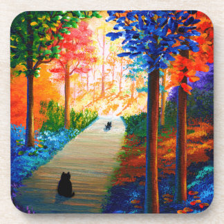 Colorful Fall Trees Landscape Black Cats Beverage Coaster