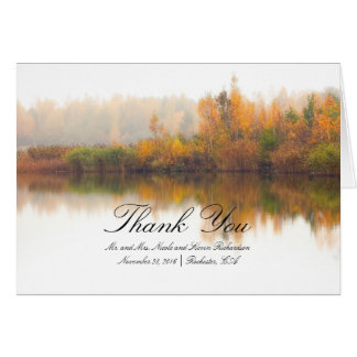 Colorful Fall Trees Rustic Wedding Thank You Card