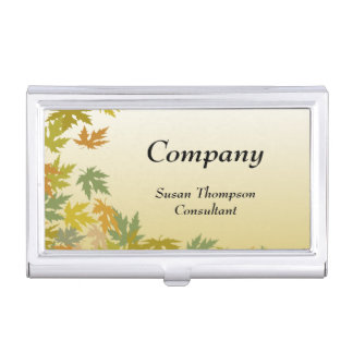 Colorful Falling Autumn Leaves Case For Business Cards