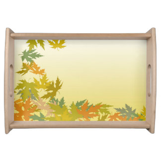 Colorful Falling Autumn Leaves Serving Tray