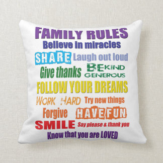 Colorful Family Rules Throw Pillow