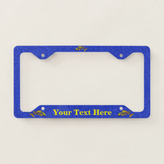 Colorful Fancy Abstract Fish Dark blue Sparkles License Plate Frame