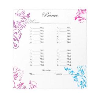 Colorful Fancy Bunco Sheet Bulk Note Pad