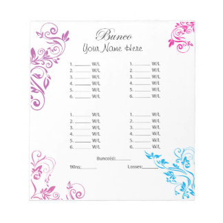 Colorful Fancy Floral Bunco Sheet Note Pad