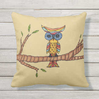 Colorful Fancy Own Circle Blue Eyes on Tree Branch Throw Pillow