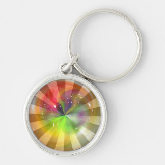 Colorful Fantasy Abstract Art 4 Silver-Colored Round Keychain