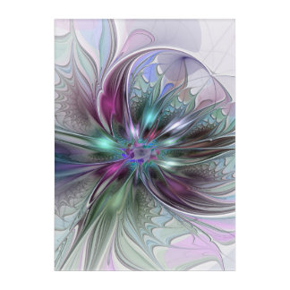 Colorful Fantasy Abstract Modern Fractal Flower Acrylic Wall Art