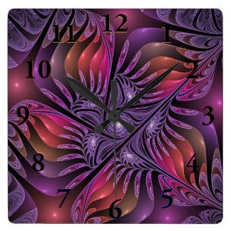 Colorful Fantasy Abstract Modern Purple Fractal Wall Clock