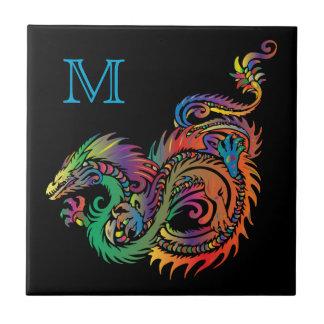 Colorful Fantasy Dragon Monogram Tile