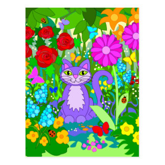 Colorful Fantasy Garden Smiling Cat Butterflies Postcard