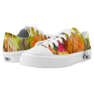 Colorful Faux Fur Abstract Art Zipz Low Top Shoes