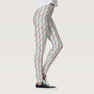 Colorful feather and beads boho pattern leggings