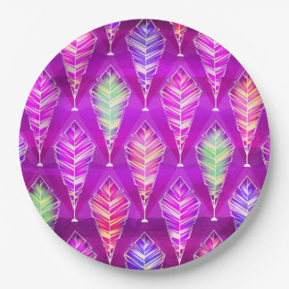 Colorful Feathers Abstract Pattern In Purple Pink 9 Inch Paper Plate