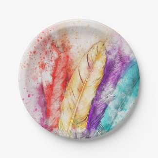 Colorful Feathers Paper Plate