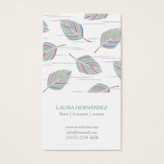 Colorful feathers spring pattern feminine elegant business card