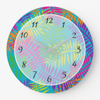 Colorful Fern Abstract Textile Clock