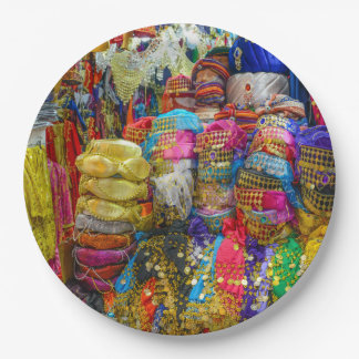 Colorful Fez Hats and Slippers Clothing Paper Plate