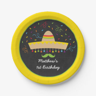 Colorful Fiesta Birthday Paper Plate