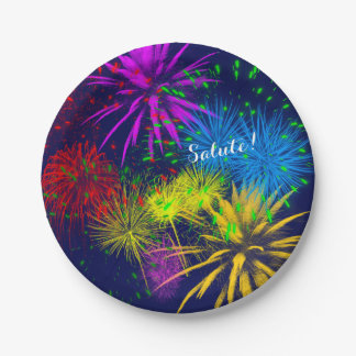 Colorful fireworks funny unique paper plate