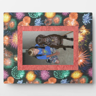 Colorful Fireworks in the Night Sky Custom Frame Photo Plaque