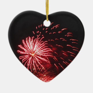 Colorful fireworks of various colors ceramic heart ornament