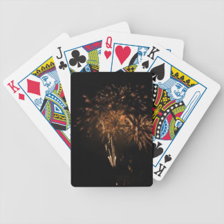 Colorful fireworks of various colors in the night bicycle playing cards