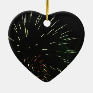 Colorful fireworks of various colors in the night ceramic heart ornament