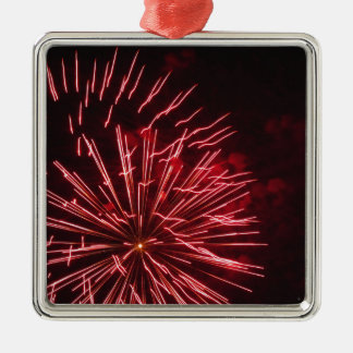 Colorful fireworks of various colors in the night metal ornament