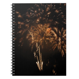Colorful fireworks of various colors in the night notebook
