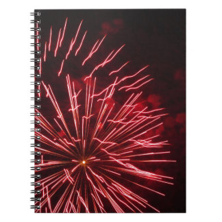 Colorful fireworks of various colors in the night notebooks