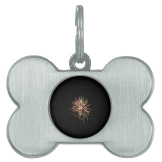 Colorful fireworks of various colors in the night pet tag
