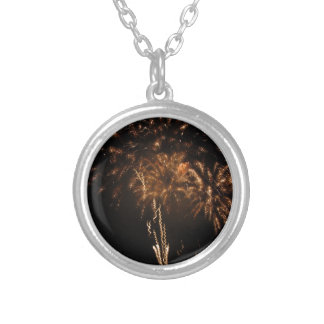 Colorful fireworks of various colors in the night silver plated necklace