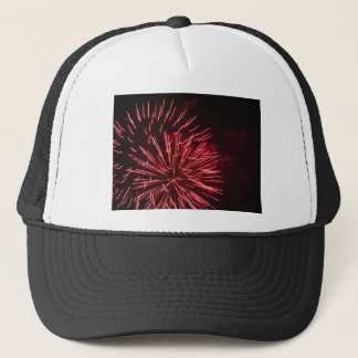 Colorful fireworks of various colors in the night trucker hat