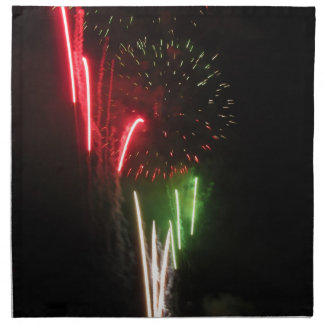Colorful fireworks of various colors light up the napkin