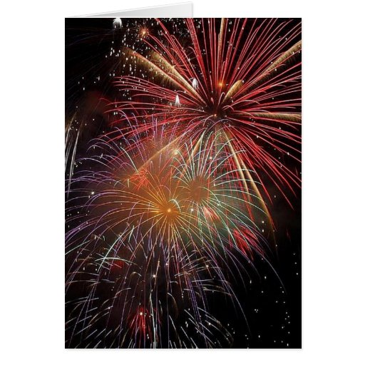 Colorful Fireworks Sparkles Greeting Card